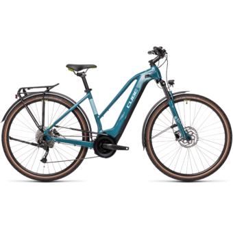 CUBE TOURING HYBRID ONE 400 TRAPÉZ blue´n´green Női Elektromos Trekking Kerékpár 2021