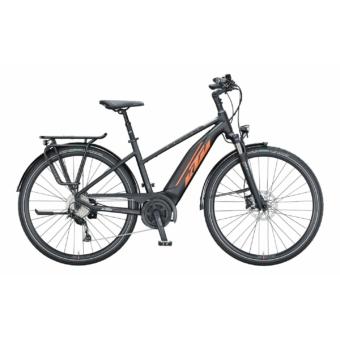 KTM MACINA FUN A 510 TRAPÉZ black matt (orange+grey) Női Elektromos Trekking Kerékpár 2021