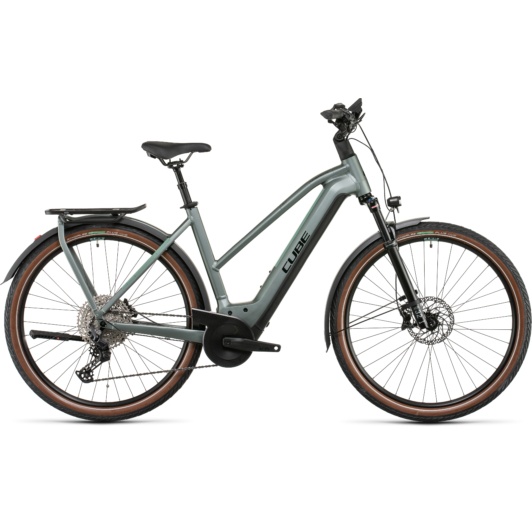 CUBE KATHMANDU HYBRID EXC 750 TRAPÉZ SILVERGREEN´N´BLACK Női Elektromos Trekking Kerékpár 2022