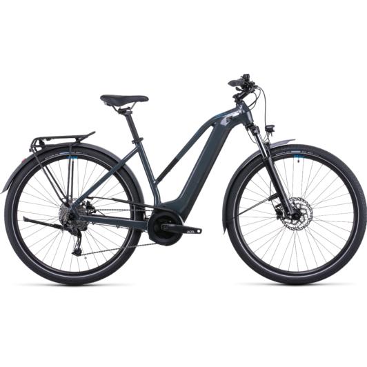 CUBE TOURING HYBRID ONE 500 TRAPÉZ GREY´N´BLUE Női Elektromos Trekking Kerékpár 2022