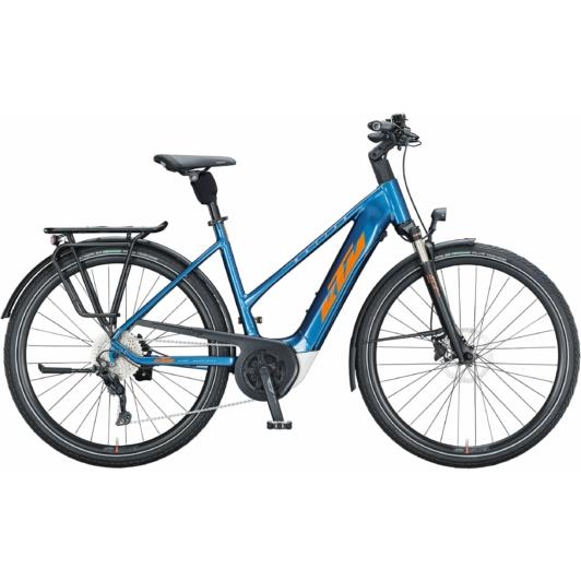 KTM MACINA TOUR P 510 EASY ENTRY denim (orange+white) Unisex Elektromos Trekking Kerékpár 2021